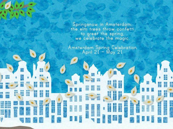 Lente sneeuw in Amsterdam..