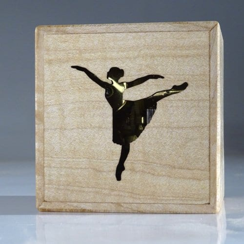 Music box of wood with ballerina