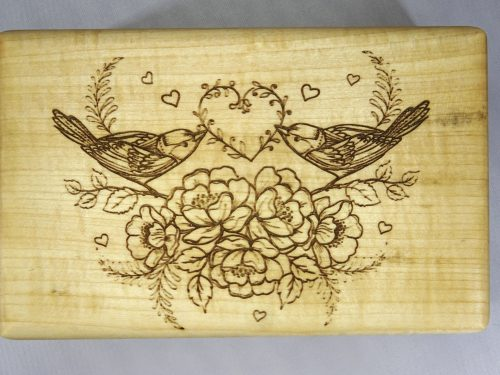 engraving birds with heart