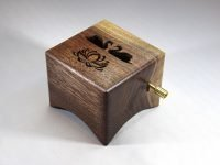 Music box Lude Manual with Swans and Lotus. Walnut from Nijmegen (Hatertseweg)